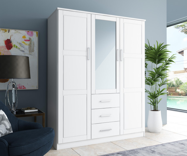 Cosmo 3-Door Wardrobe/Armoire, Mirror, 3-Drawer by Palace Imports .