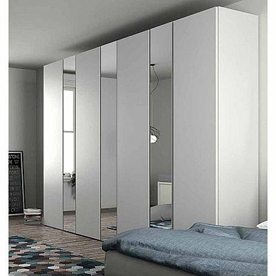 Exclusive white 'Gherardo' Wardrobe. White wood with mirrors, very .