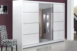 Modern Bedroom Sliding Door Wardrobe with Mirror VISTA - WHITE .