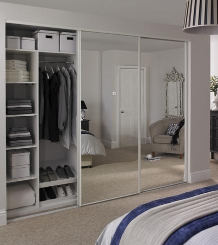 Mirrored wardrobe with 4 door sliding closet also panel mirror .
