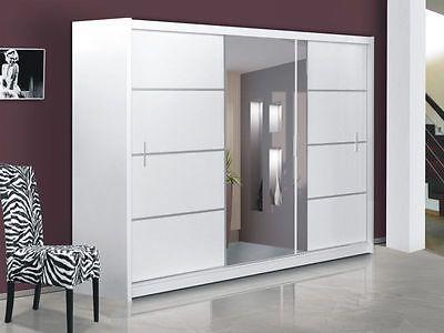 Modern Bedroom Sliding Door Wardrobe with Mirror VISTA - WHITE .