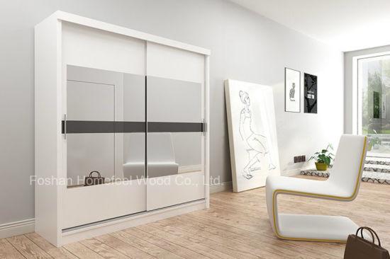 China Popular Warm White Bedroom Mirror Sliding Door Wardrobe (HF .