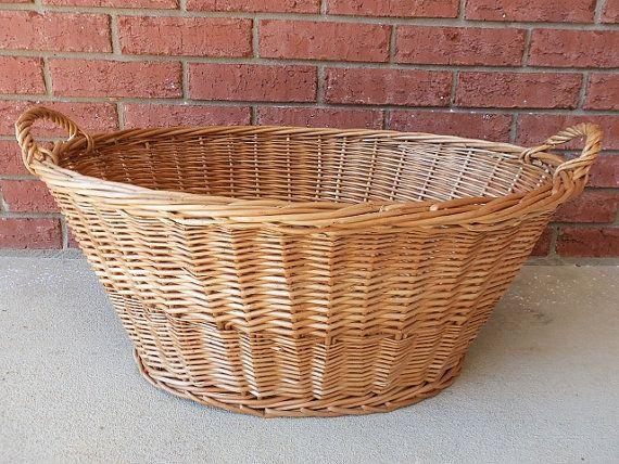 Oval Wicker Laundry Basket | Large Oval Wicker Laundry/Apple .
