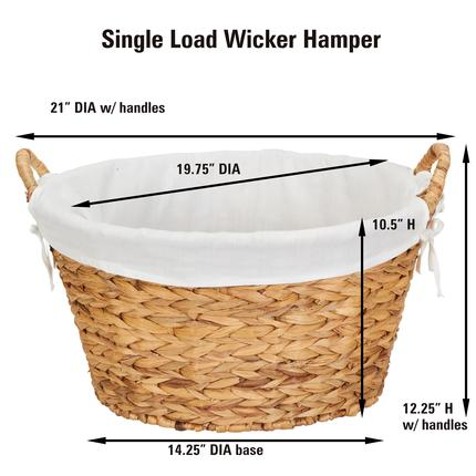Laundry Baskets | Natural Water Hyacinth Round Wicker Laundry Bask