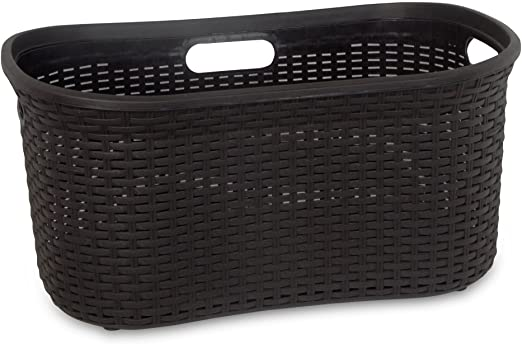 Amazon.com: Wicker Laundry Basket Plastic With Cutout Handles 50 .