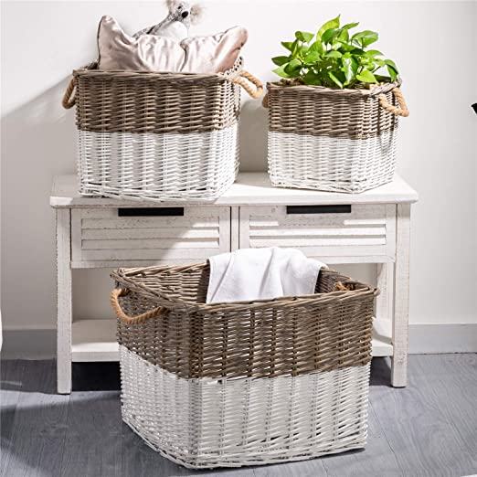 Amazon.com: Glitzhome Handwoven Wicker Laundry Baskets with .