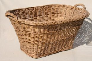 vintage french country chic wicker laundry hamper, big old wash .