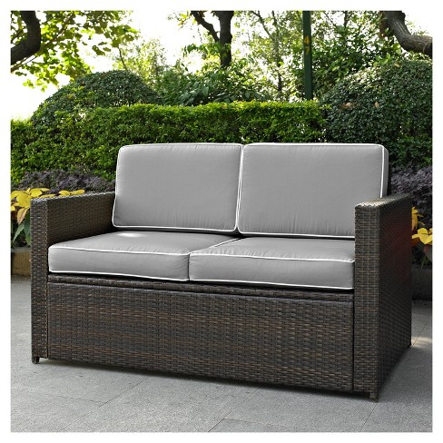 Palm Harbor Outdoor Wicker Loveseat In Brown With Gray Cushions .