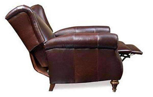 Chamberlain Leather Wingback Recliner Chair With Rolled Ar