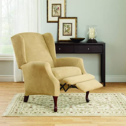 Amazon.com: Sure Fit Stretch Suede Wing Chair Recliner Slipcover .