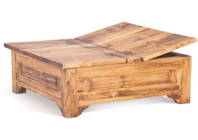 large square storage chest trunk wood box coffee table | Coffee .