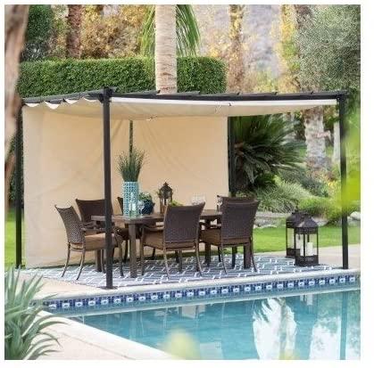 Amazon.com: Steel Pergola Gazebo with Retractable Canopy Shades .