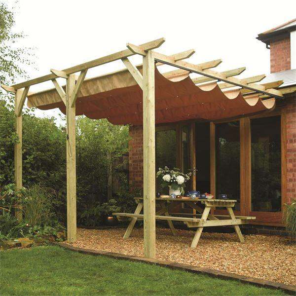 Install bifold doors new construction: Wooden pergola with cano