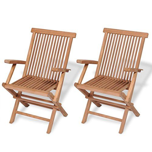 Festnight Set of 2 Teak Wood Folding Dining Chairs with Arm Rest .