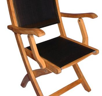 Amazon.com: Teak Folding Chair with arms Sling Seat - PAIR: Garden .