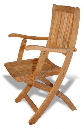 Amazon.com : GOLDENTEAK Teak Folding Chair with arms - Pair .