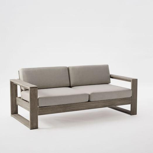 Portside Gray Finish Two Cushion Wooden Frame So