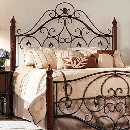 Queen Size Antique Style Wood Metal Wrought Iron Look Rustic .