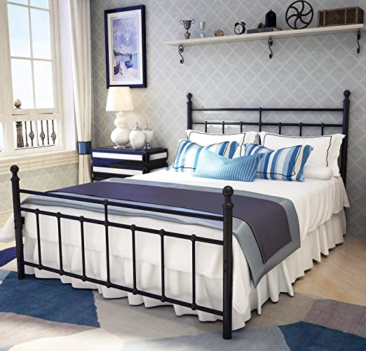 Amazon.com: Metal Bed Frame Full Size with Vintage Headboard and .