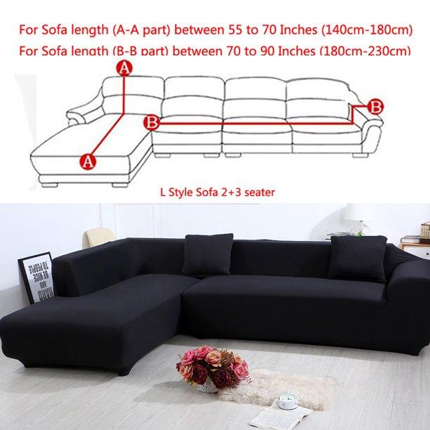 All-Cover Sectional Sofa L Shape, 2pcs Slipcover Elastic Washable .