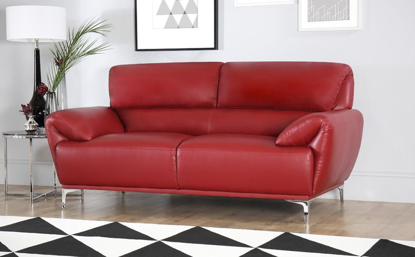 Enzo Red Leather Sofa 3+2 Seater | Red leather sofa living room .