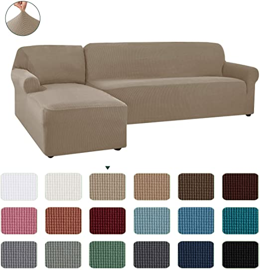 Amazon.com: CHUN YI Stretch Sectional Couch Covers Soft L-Shaped .