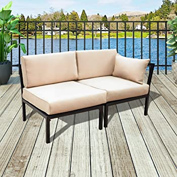 Amazon.com: PatioFestival 2-Seat Conversation Set Patio Sectional .