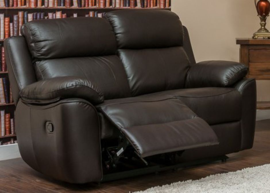 Kansas Reclining 2 Seater Leather Sofa Settee Espresso Bro