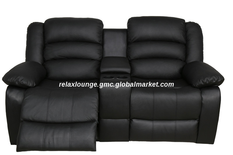 SF2016755, China Balck Leather recliner sofa with console , 2 .