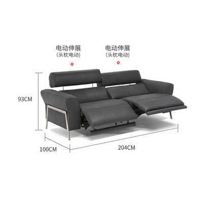 Living Room Sofa set 2 seater real genuine leather sofas electric .