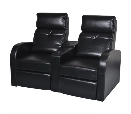 vidaXL 2-Seater Home Theater Recliner Sofa Black Faux Leather .