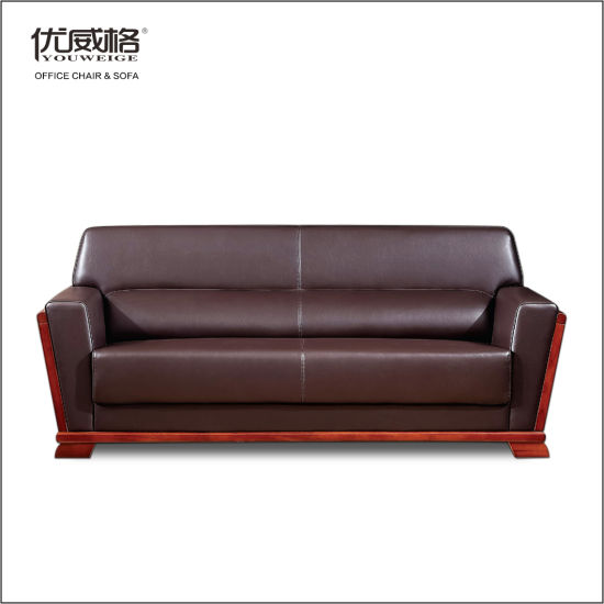 China 3 Seater Leather Sofa for Office Seating with Solid Wood .