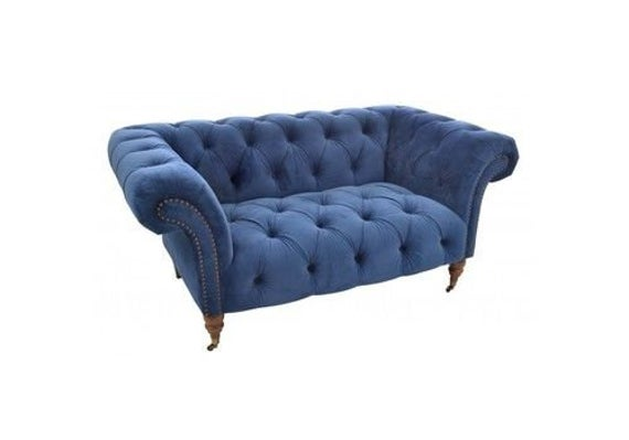 Free Delivery Blue Velvet Chesterfield Cuddle Chair Sofa | Et