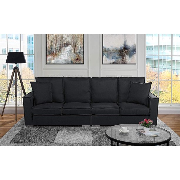 Mobilis Large Living Room Linen Fabric 4 Seat Sofa, Black .