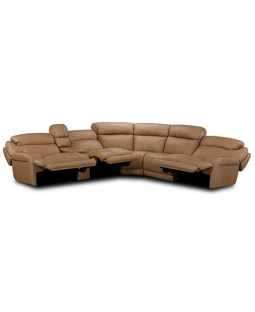 Furniture Daventry 6-Pc. Leather Sectional Sofa With 3 Power .