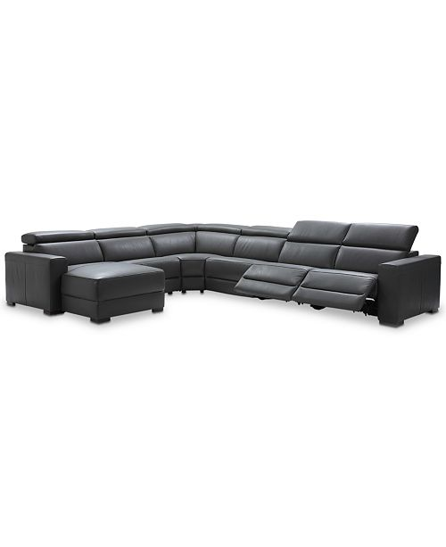 Furniture Nevio 6-pc Leather Sectional Sofa with Chaise, 2 Power .