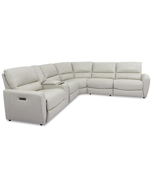 Furniture Danvors 6-Pc. Leather Sectional Sofa with 2 Power .