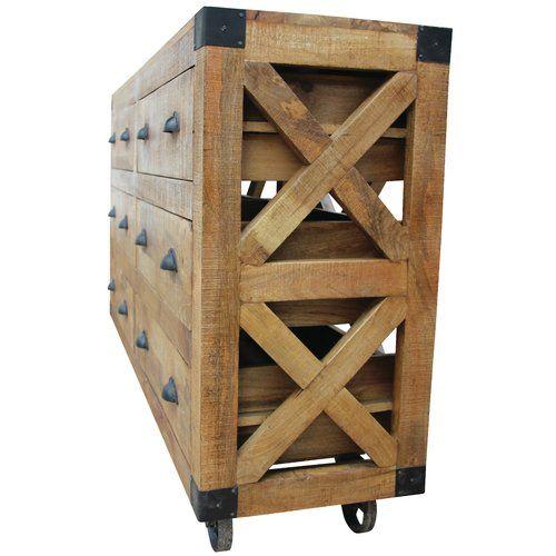 "Adkins 59"" Wide 6 Drawer Mango Wood Sideboard | Dining room table ."