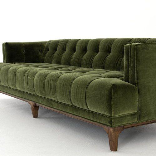 Dylan Mid-Century Modern Olive Green Velvet Tufted Sofa | Cheap .