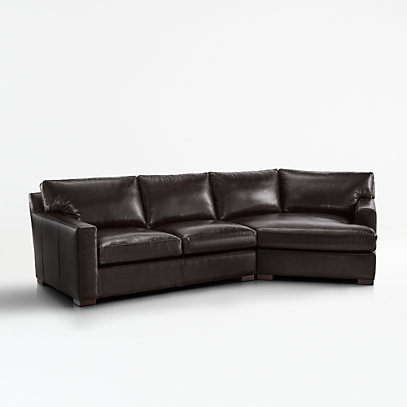 Axis II Leather 2-Piece Right Arm Angled Chaise Sectional Sofa .