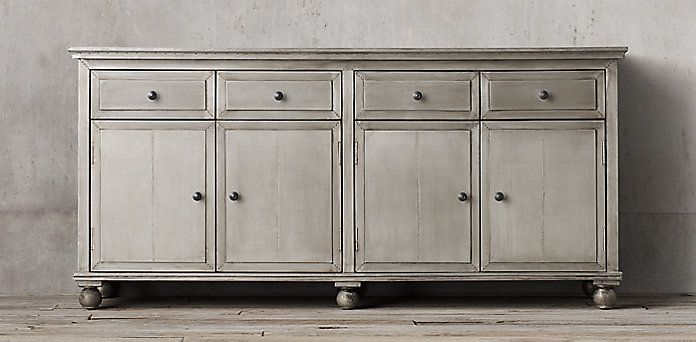 Annecy Metal-Wrapped Sideboard Collection - Light Zinc | RH .