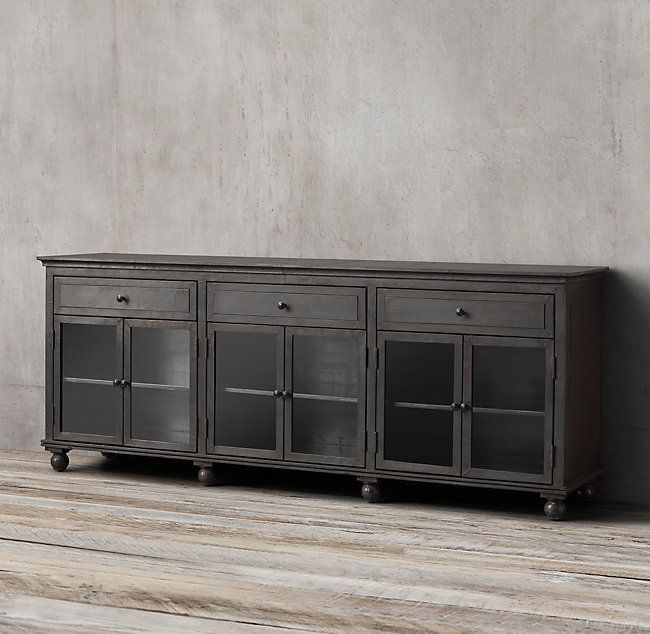 Annecy Metal-Wrapped Glass Large Sideboard | Large sideboard .