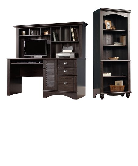 Black Antique Computer Desk & Bookshelf | Zuli