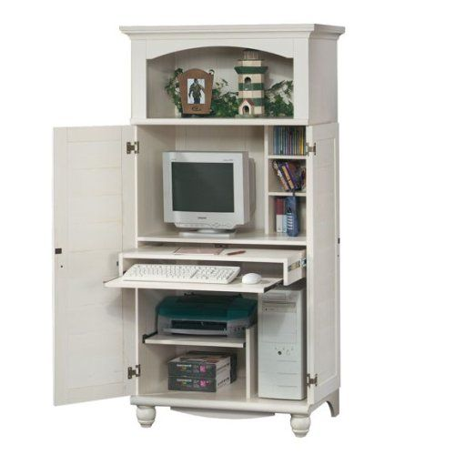 Amazon.com - Antique White Shutter Door Computer Desk Armoire .