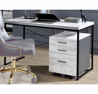 Jurgen Antique White Wood/Black Metal Computer Desk by Ac