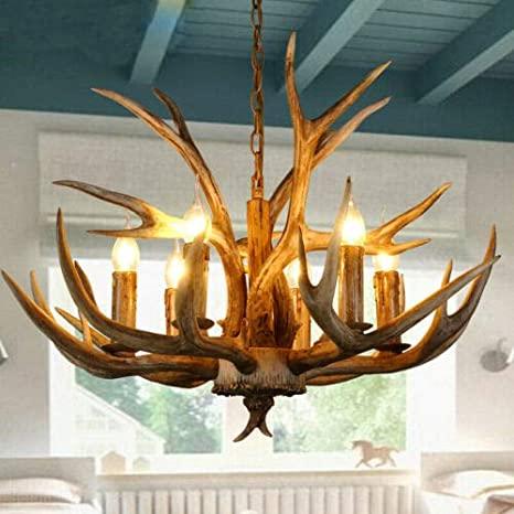 Retro Antler Chandelier Deer Horn Pendant Hanging Light Fixture .