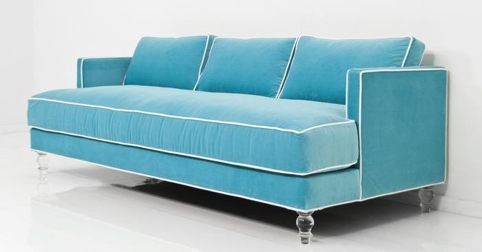 www.roomservicestore.com - Down With Love Sofa in Aqua Velvet .