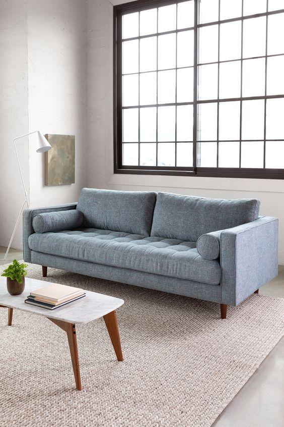 Sven Aqua Tweed Sofa in 2020 | Grey sofa living room, Living room .