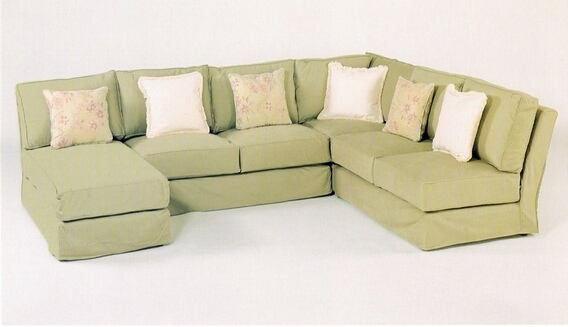 CL-1604 slip 4 pc custom armless sectional sofa with slip covered .