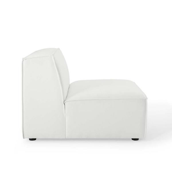 MODWAY Restore in White with Fabric Sectional Sofa Armless Chair .